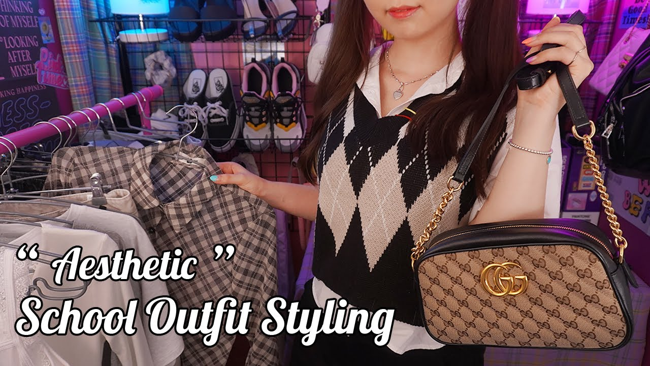 ASMR Aesthetic School Outfit Styling for you💜soft spoken