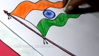 How to Draw INDIAN FLAG Drawing Step by Step in TELUGU For Kids