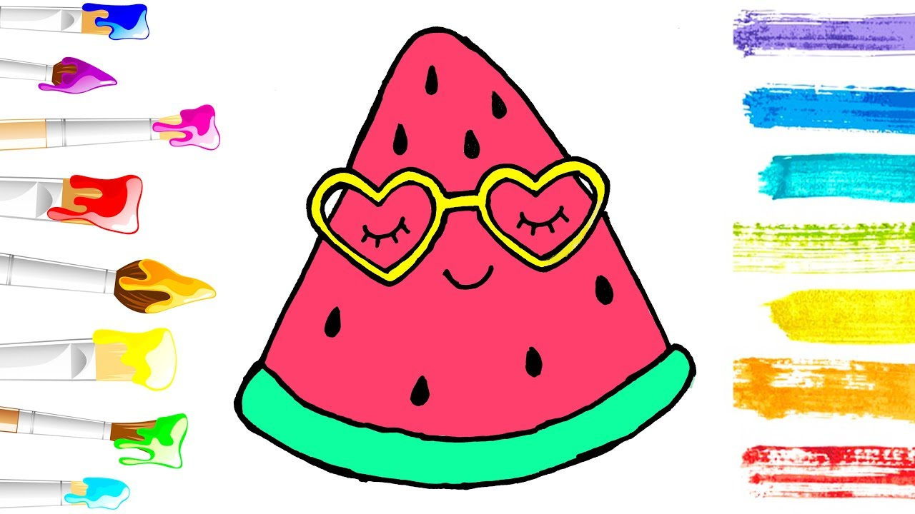 How To Draw A Cute Watermelon Coloring Pages Fruit Kids Learn Drawing Art Colors For Children Youtube
