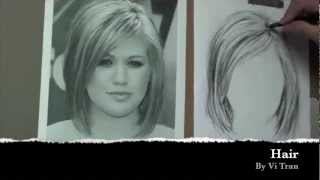 How to draw hair with pencil