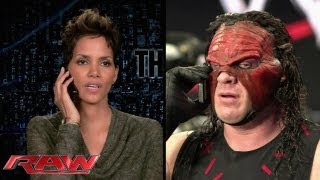Academy Award winner Halle Berry gets interrupted by WWE Superstar Kane: Raw, June 24, 2013