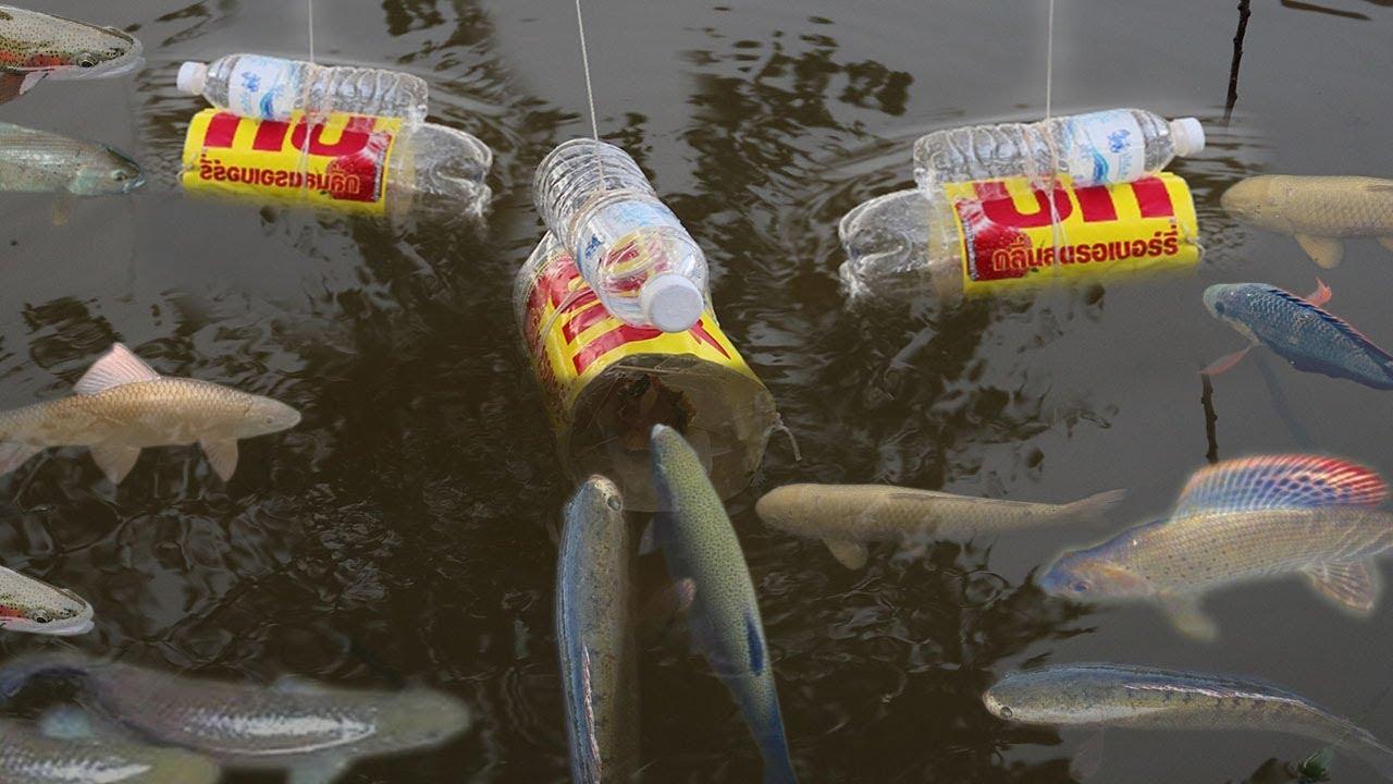 Creative girl make fish trap using big coca cola plastic for How to make a fish trap for big fish