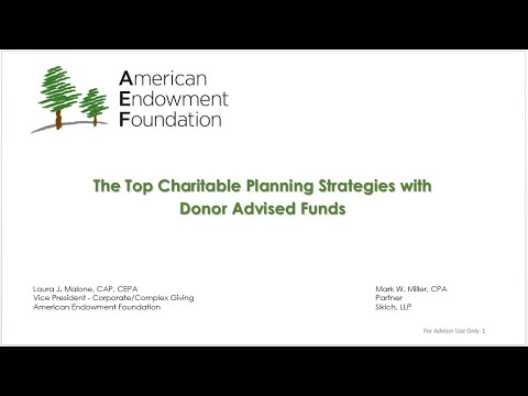 Top Charitable Planning Strategies with Donor Advised Funds
