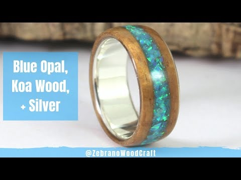 Silver and Koa Wood Ring With Blue Opal Inlay (Tutorial)