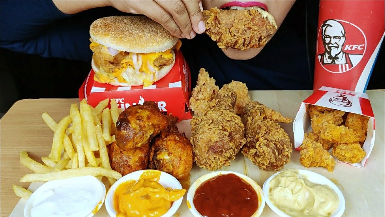 ASMR:KFC ZINGER BURGER,FRIES,KFC HOT AND CRISPY,HOT AND SPICY CHICKEN LEGPIECE