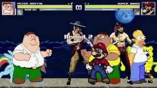 AN Mugen Request #191: Peter, Rainbow Dash, Liu Kang & Kung Lao VS Mario, Peter, Spongebob & Homer