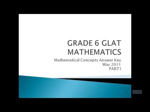 Grade 6 GLAT Math Concepts 052011 Question 1 to 5