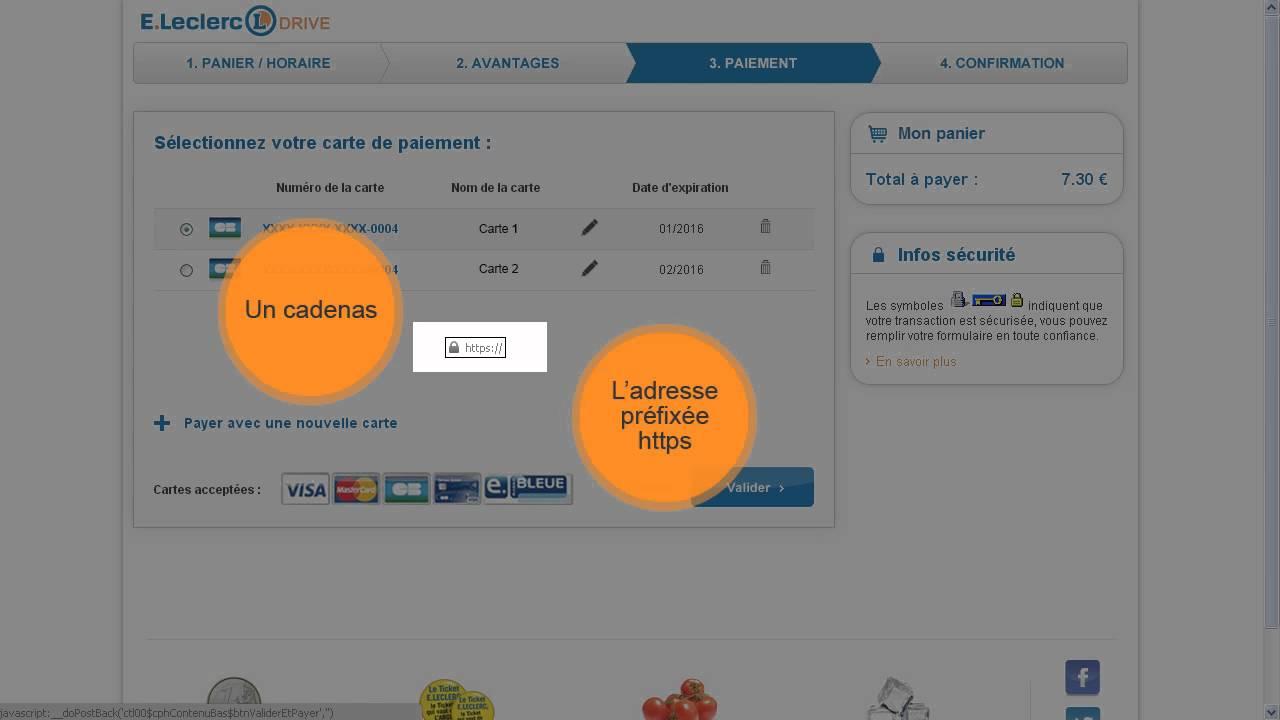 carte de paiement leclerc Le paiement sécurisé sur le site E. Leclerc DRIVE   YouTube