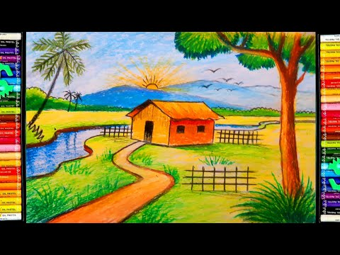 Easy Landscape Drawing For Kids and Begginers | Learn House Simple Painting | Oil Pastel