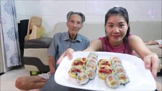Vlog Ăn Vặt 49 ll Ngân Lần Đầu Làm Cơm Cuộn & Kimbap Hàn Quốc ngon xuất sắc