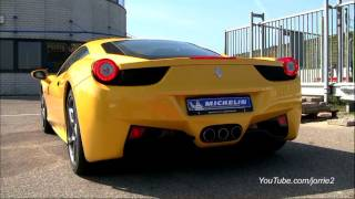 Yellow Ferrari 458 Italia Sound! Lovely Downshifts! - 1080p HD