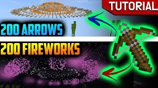 Shooting CRAZY AMOUNT of Arrows & Fireworks AT ONCE using Crossbow - MCPE 1.8.0.10