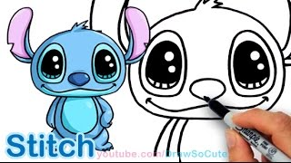 How to Draw Disney Stitch Cute and Easy Step by step