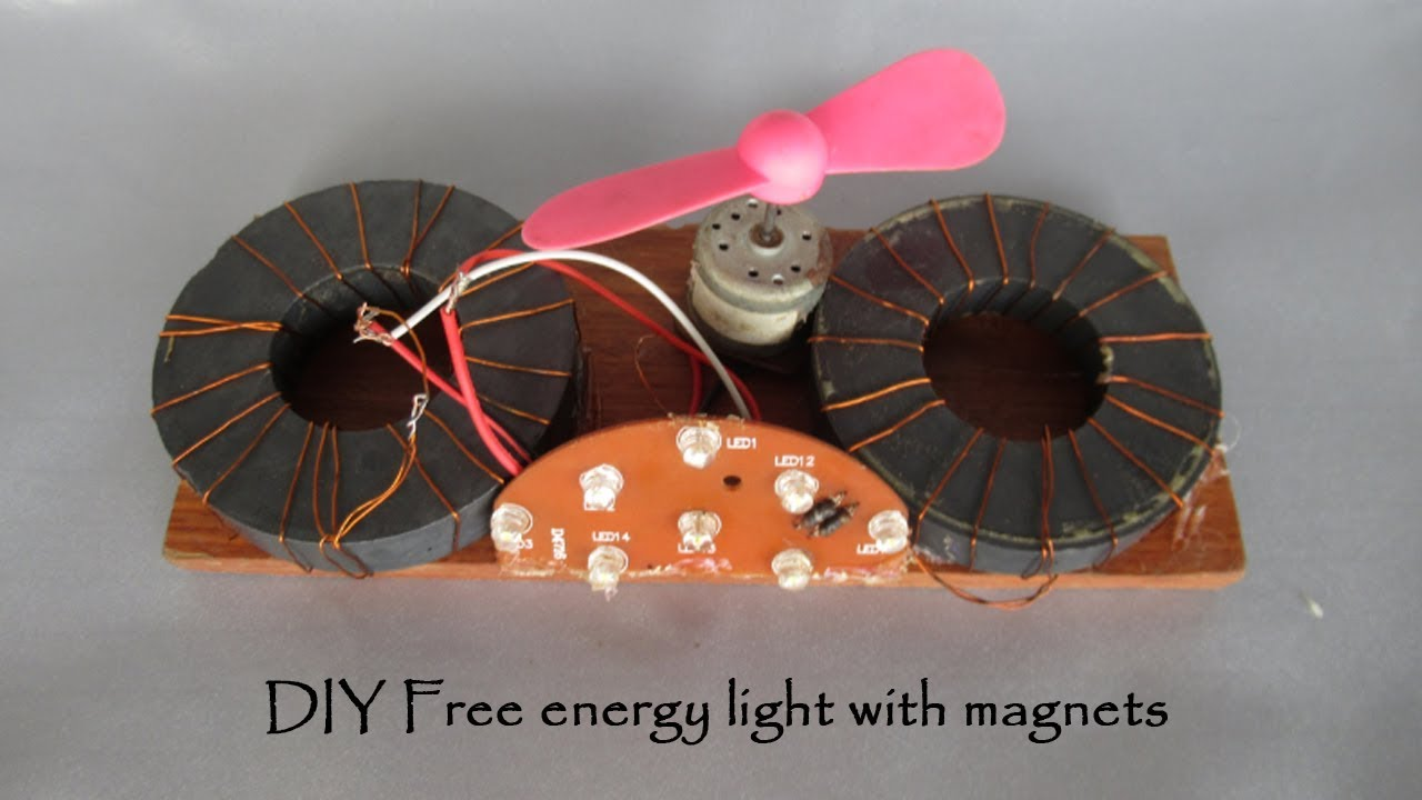 How to make free energy generator magnets homemade light & fan - DIY  science project free energy