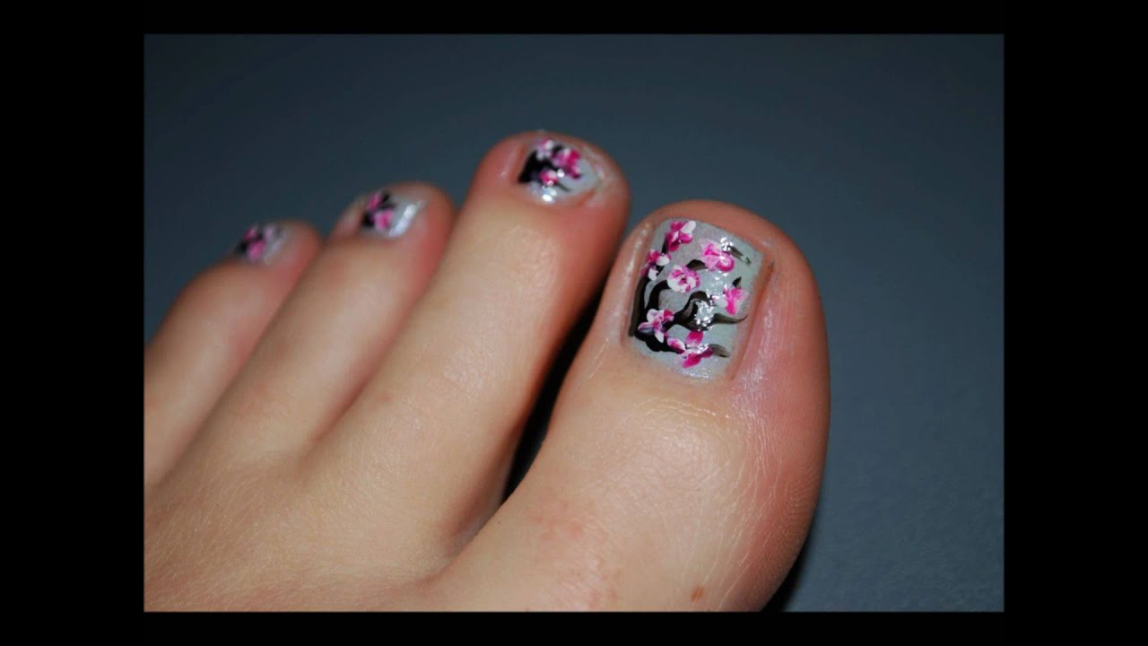 Cherry Blossom Toe Nail Desing - YouTube