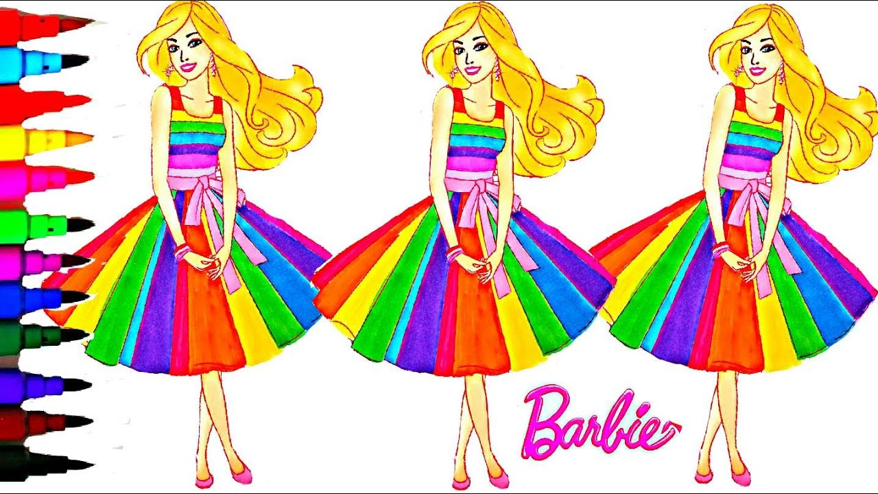 barbie coloring book videos kids fun activities learning rainbow arts videos kids balloons and toys youtube - Barbie Coloring Book