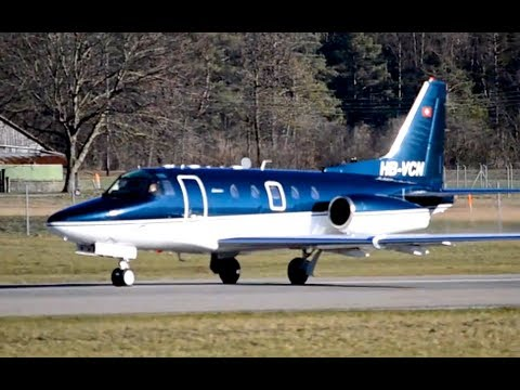 North American Rockwell NA-265 Sabreliner 65 takeoff at airport Bern-Belp HD