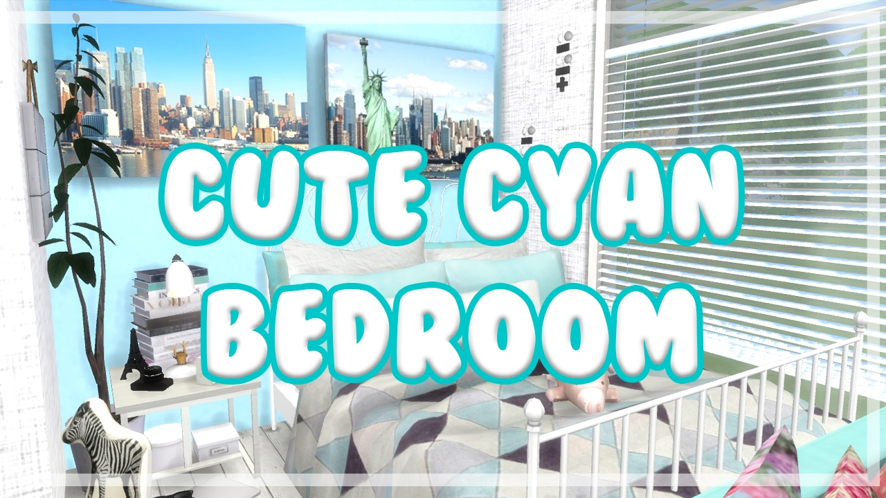 the sims 4: room build || cute cyan bedroom - youtube