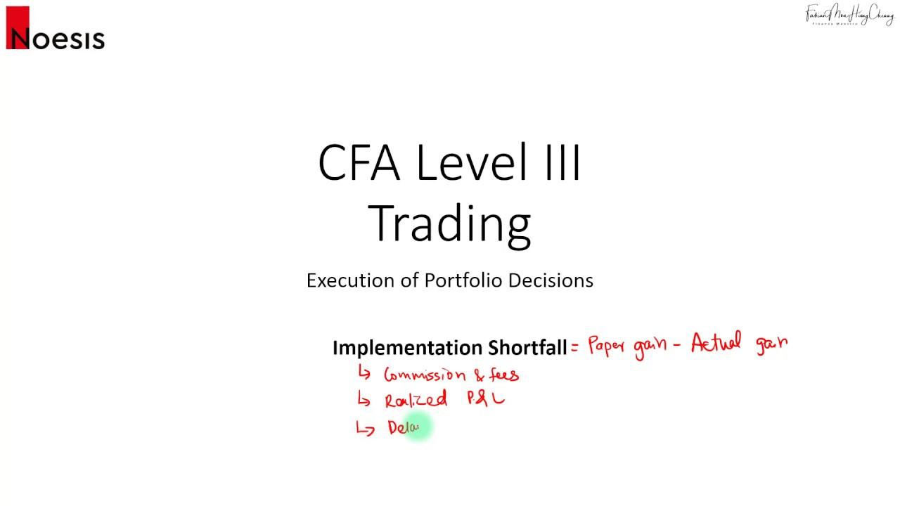 CFA Level 3 (2019): Trading - Implementation Shortfall (Part 1)