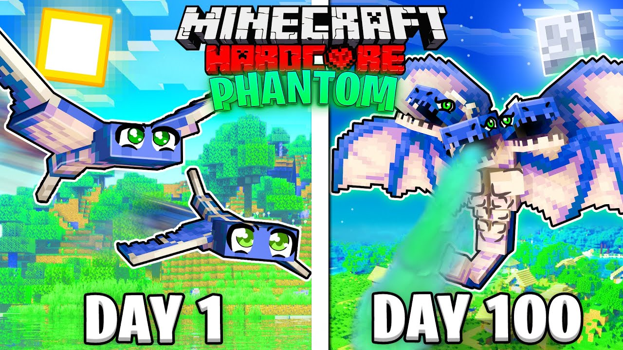 I Survived 100 Days as a PHANTOM in HARDCORE Minecraft!