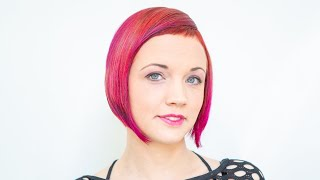 long to short haircut makeover   ruby red bob with short bangs ombre by anja herrig