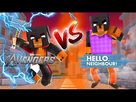 Minecraft Thor Vs Hello Neighbor The Avengers Little