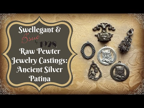 Swellegant and B'sue by 1928 Raw Pewter Jewelry Castings:  Ancient Silver Look