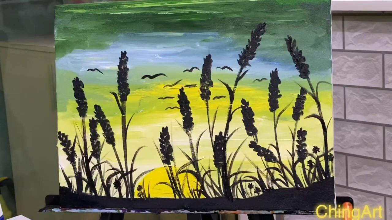 Vẽ cánh đồng hoa Lavender   Draw Lavender flower field  CHING ART 