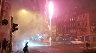 New Year's Eve Fireworks 2019 / 2020 in Aachen ( walking around in Germany on Silvester at Night )