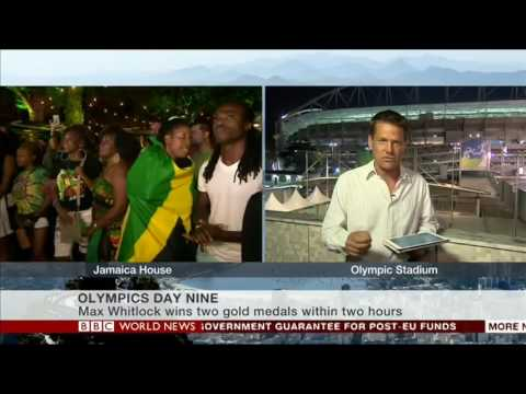 How Bolt won the 100m Final in Rio on BBC World News TV - short