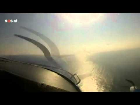 Terrifying footage of two planes crashing in mid-air over the Netherlands