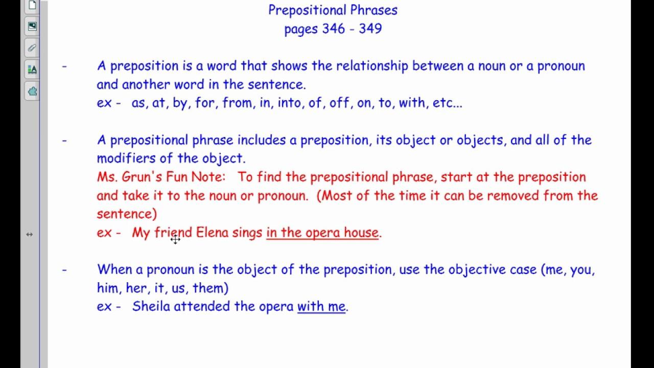 Prepositional Phrases 8 Youtube