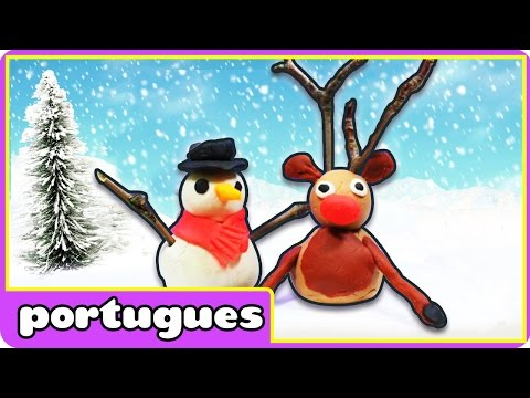Boneco de Neve e Rena de Plasticina - Play Doh Reindeer & Snowman - Play Doh em Portugues
