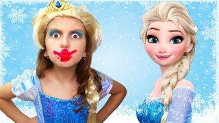 Messy Princess Makeup   Elsa tries to sew a Dress   Super Elsa