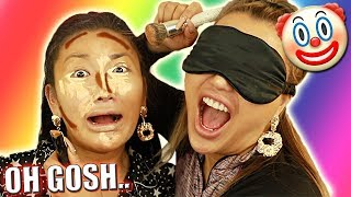 SISTER BLINDFOLD MAKEUP CHALLENGE.. IT WENT SO WRONG I CRIED 😂