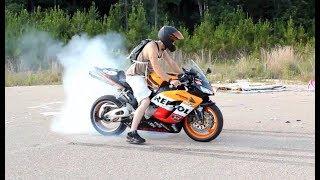 Honda CBR SportBike - Exhaust SOUND, BURNOUT, WHEELIE, STOPPI, Fireblade Repsol. [Ep #06]