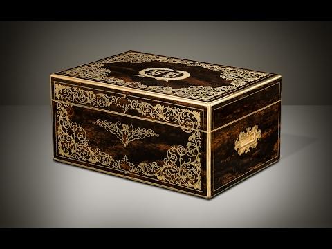 Daniellucian.com - Antique Jewellery Box in Coromandel with Engraved Brass Inlay