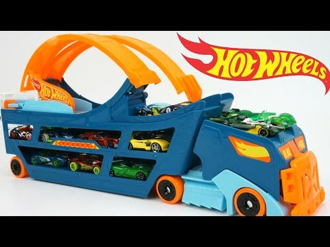 HOT WHEELS STUNT & GO HAULER TRUCK RACE TRACK LAUNCH GO CARS STORAGE 360 LOOP HOTWHEELS