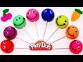 Учим цвета, овощи и фрукты на английском языке с чупа чупсами смайликами из пластилина Play-Doh.