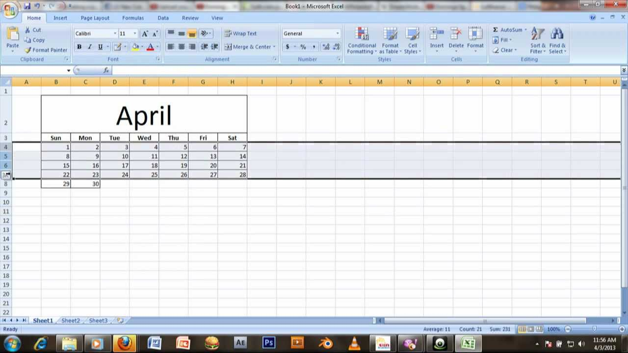 TUTORIAL: How to make a Calendar in MS Excel 2007 - YouTube