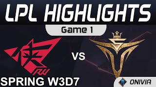 RW vs V5 Highlights Game 1 LPL Spring Season 2021 W3D7 Rogue Warriors vs Victory Five by Onivia