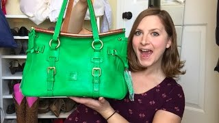 amazing unicorn bag reveal dooney bourke kelly green double strap tassel satchel