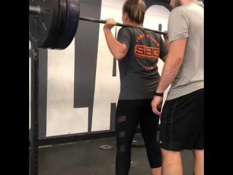 Ashley hits a 3 rep back squat PR