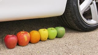 Crushing Crunchy & Soft Things by Car! - EXPERIMENT: FRUITS VS CAR 3