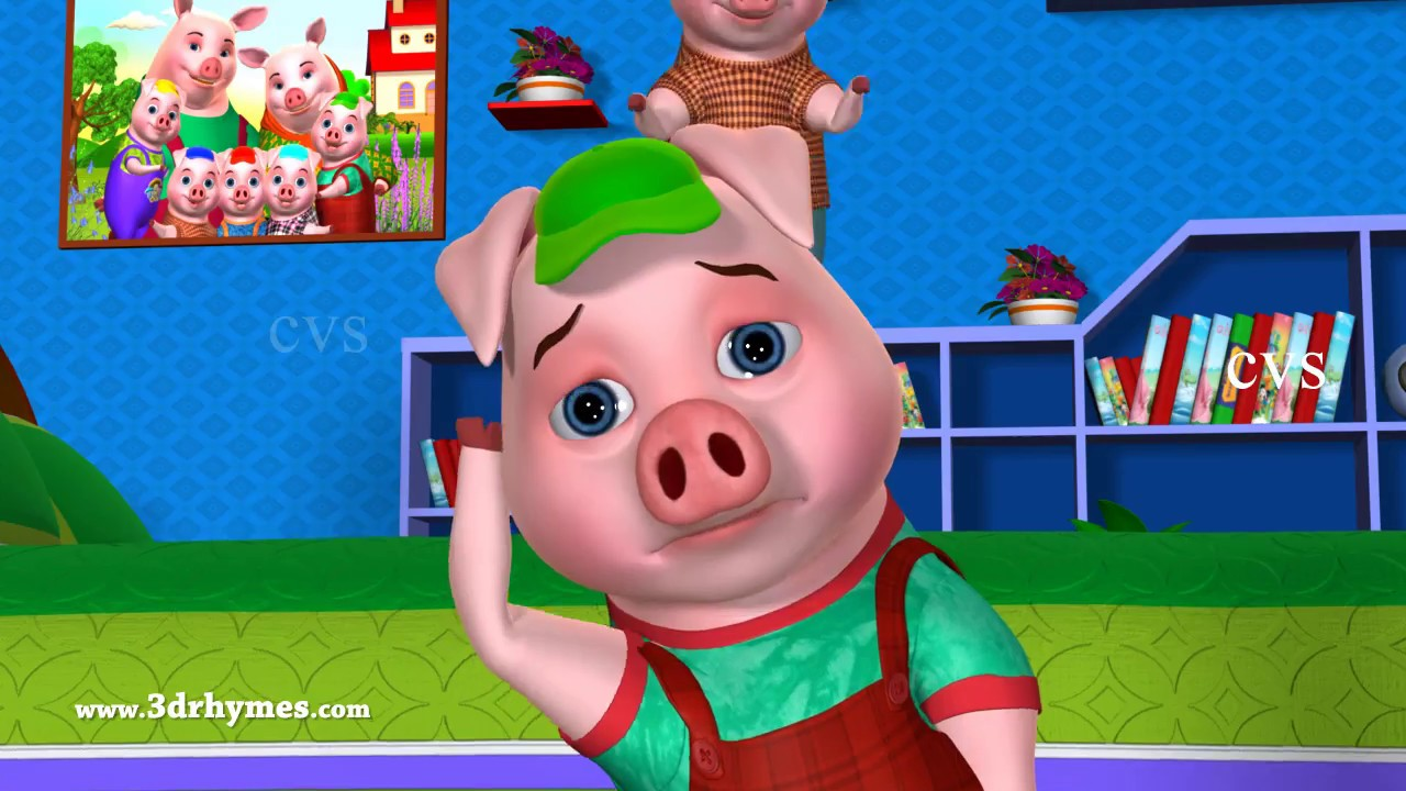 Five Little Piggies Jumping on the Bed - 3D Animation Nursery Rhymes & Songs for Children