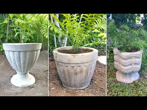 3 вазона из цемента. Поделки для сада и дачи