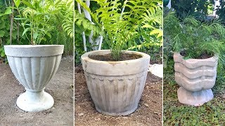 3 vases of cement. Handicrafts for garden and cottages