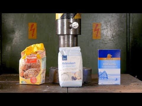 Turning Sugar and Salt into Rock with Hydraulic Press | in 4K