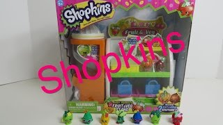 Shopkins Easy Squeezy Fruit & Veg Stand Playset Opening Unboxing Toy Review Play