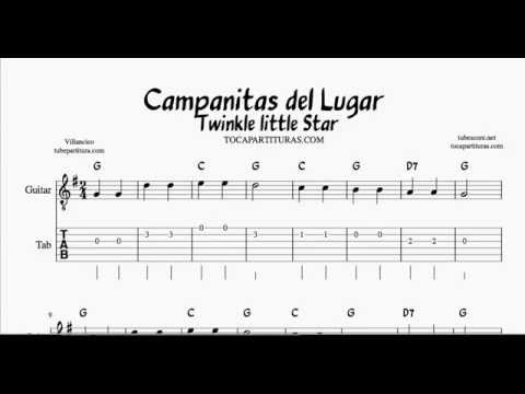 Twinkle twinkle little star G Major Tabs Sheet music for guitar ...
